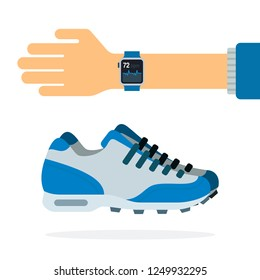Running shoes and a watch with a heart rate on hand monitor vector flat icon isolated on white