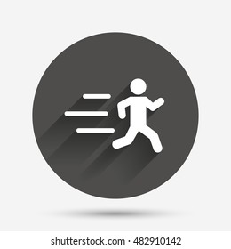 Running sign icon. Human sport symbol. Circle flat button with shadow. Vector