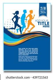 Running  silhouette. Poster, Flyer, banner.
