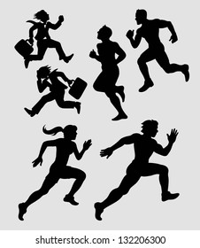 Running Silhouettes 1. Businessman and athlete black silhouettes. Smooth and detail vector. Good use for symbol your web or any design you want.