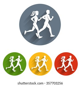 Running silhouettes icon
