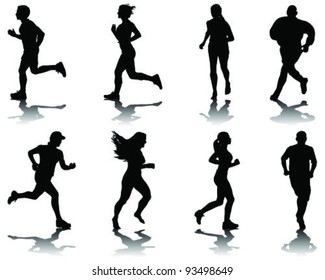running silhouettes with shadows 2-vector