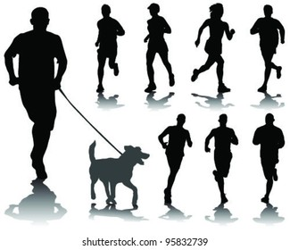 running silhouettes with shadows 3-vector