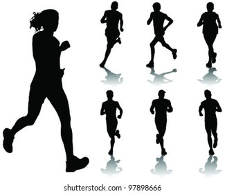 running silhouettes with shadows 4-vector