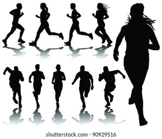 running silhouettes with shadows-vector