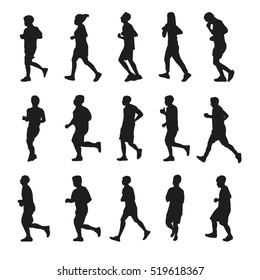 Running silhouettes vector collection on the white background