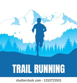 Running silhouettes. Vector illustration, Trail Running.
