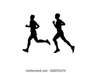 RUNNING SILHOUTTE BLACK HIGH VECTOR