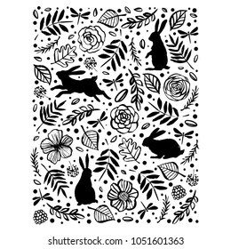 Running, sitting and standing silhouette of a rabbit in the flower pattern. Floral botanical elements. Hand drawn illustration. Nature vector design.