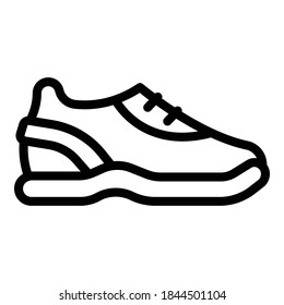 Running sneakers icon. Outline running sneakers vector icon for web design isolated on white background