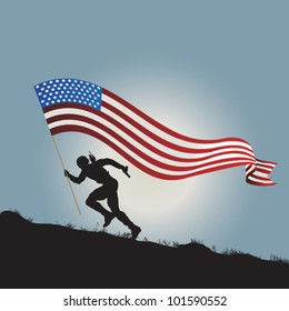Running soldier silhouette with flag of United States of America.