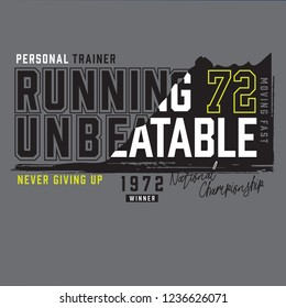 running sport athletic typography, tee shirt graphics, vectors