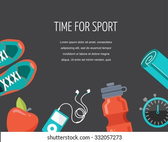 running, sport and gym icons set