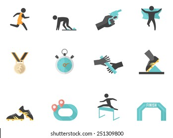Running sport related icons in flat color style