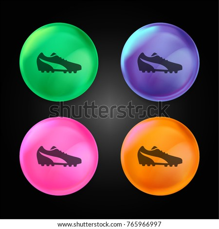 546137b60 Running sportive shoe for soccer players crystal ball design icon in green  - blue - pink