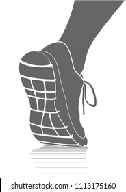 Running sports shoes icon, simple vector drawing. Running shoes symbol design template. Vector illustration of a runner's shoe / foot. View from the back on the sole. Close-up.