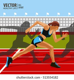 Running sprint, athletic woman. Championship. Athletics. Vector illustration.