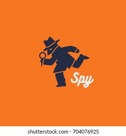 running spy man. vector logo.