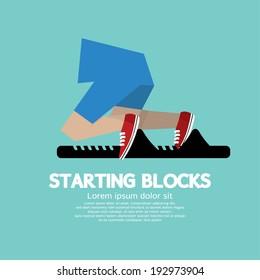 Running Starting Blocks Vector Illustration