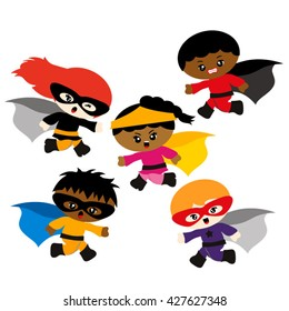 Running superhero. Cute vector design.