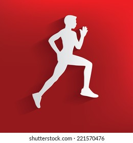 Running symbol on red background,clean vector