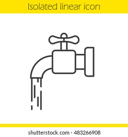 Running tap water linear icon. Thin line illustration. Open faucet contour symbol. Vector isolated outline drawing