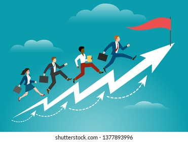 Running to target. Business persons racing to success corporate professional reaching, ambition goals and winning vector concept