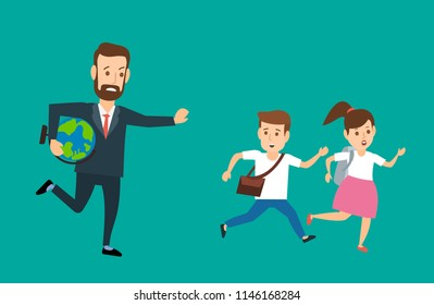 running teacher with globe pursuing chasing pupils with backpacks