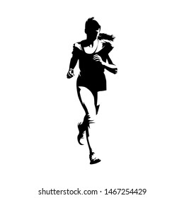 Running teen girl, front view, isolated vector ink drawing silhouette. Running people