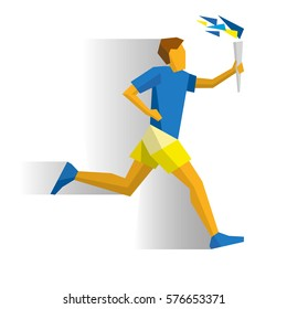 Running torchbearer. Athlete isolated on white background with shadows. International sport games infographic. Sportsman with torch - flat style vector clip art. Simple template for logo design.