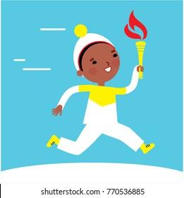 Running torchbearer. Winter Games 2018 in south korea. Vector illustration.