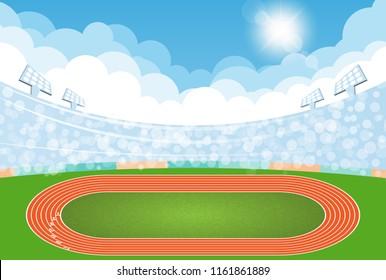 Running track arena, top view of sport stadium. Vector illustration.