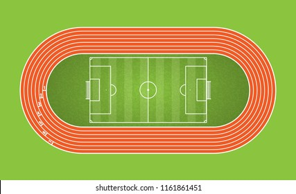 Running track and football arena, top view of sport stadium. Vector illustration.