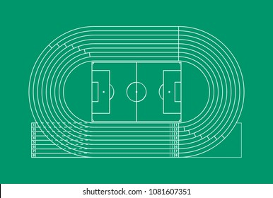 Running Track Stadium Competition Sport Concept Thin Line. Vector illustration of Arena Field Racetrack for Run