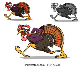 Running turkey bird in cartoon style for sport team mascot or another design or idea of logo. Jpeg version also available in gallery