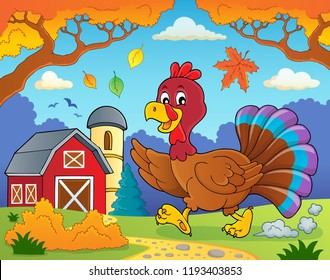 Running turkey bird theme image 4 - eps10 vector illustration.
