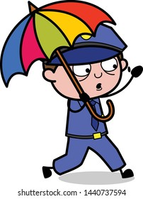 Running with Umbrella - Retro Cop Policeman Vector Illustration