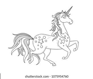 Running Unicorn silhouette. Doodle vector illustration. Coloring book page, icon, emblem or print. Cartoon character.  Outlined image. Black and white
