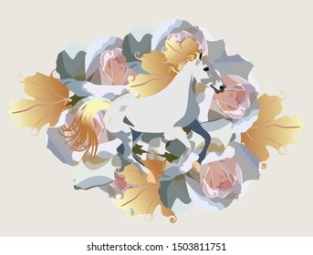 Running White Horse with mane in shape of golden autumn leaves against huge rose flowers. Print for T shirt, greeting or invitation card, poster.