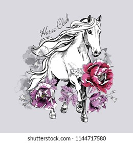 Running White Horse and pink peony, violet tulip flowers. Horse club - lettering quote. Poster, t-shirt composition, handmade print. Vector illustration.