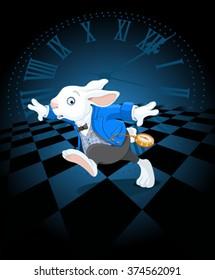 Running White Rabbit with pocket watch