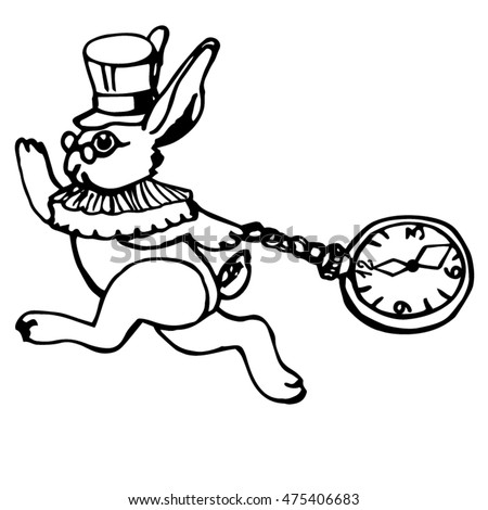 Running White Rabbit Pocket Watch Vector Stock Vector Royalty Free
