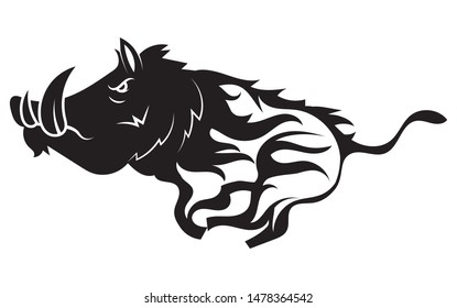 Running wild boar. Black and white vector illustration of a stylized boar. Drawing of a wild animal for hunting. Tattoo.