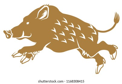 Running Wild Boar -Side view, Flat style