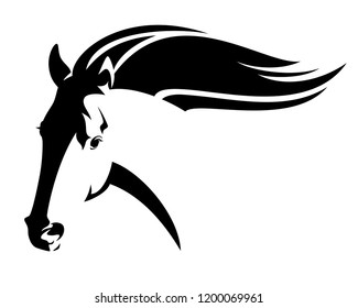 running wild horse with flying mane - mustang head black and white vector design