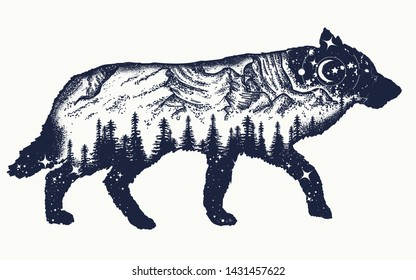 Running wolf double exposure tattoo art. Symbol tourism, travel, adventure, outdoor. Animals t-shirt design