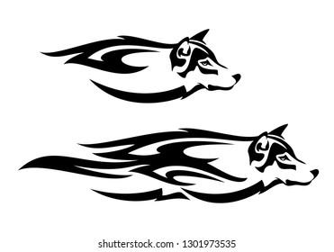 running wolf head profile design - black and white tribal style spirit animal vector
