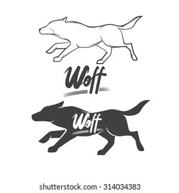 running wolf logo, silhouette, isolated, simple illustration