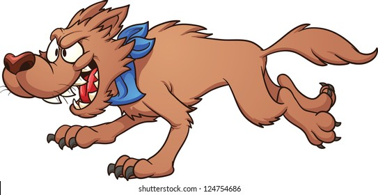Running wolf. Vector clip art illustration with simple gradients. All in a single layer.