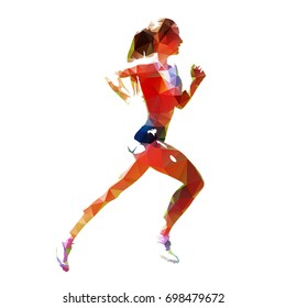 Running woman, abstract polygonal vector silhouette, side view